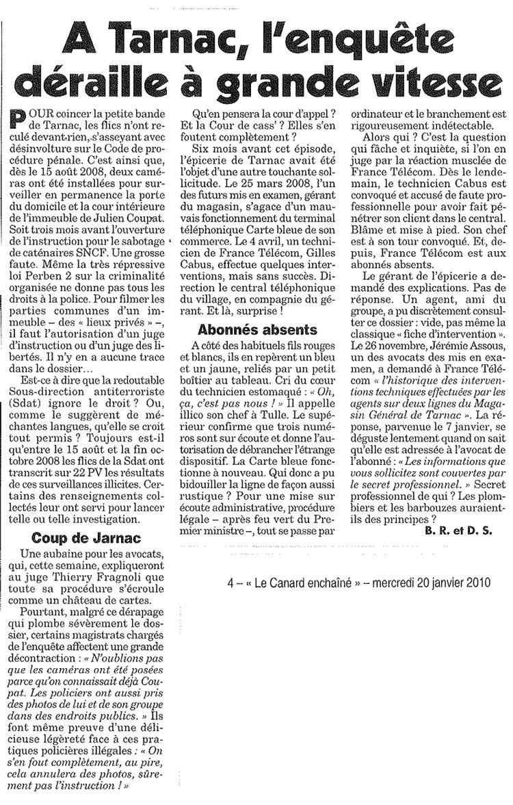 Canard Enchaîné : À Tarnac l'enquête déraille à grande vitesse.