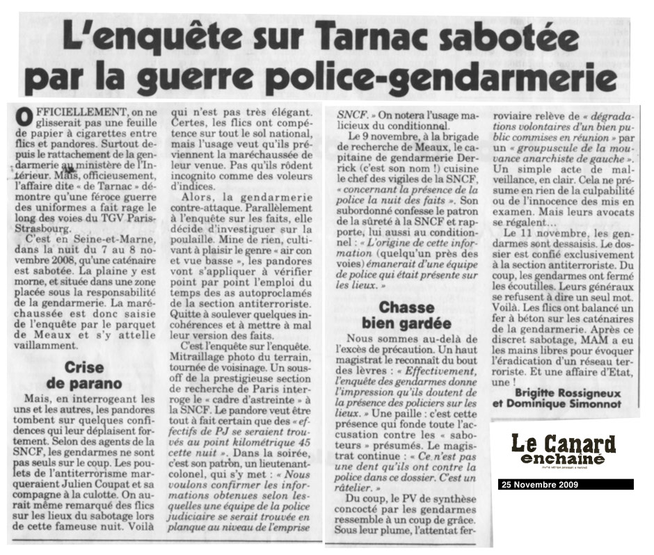 L'enquête sur Tarnac sabotée par la guerre police-gendarmerie
